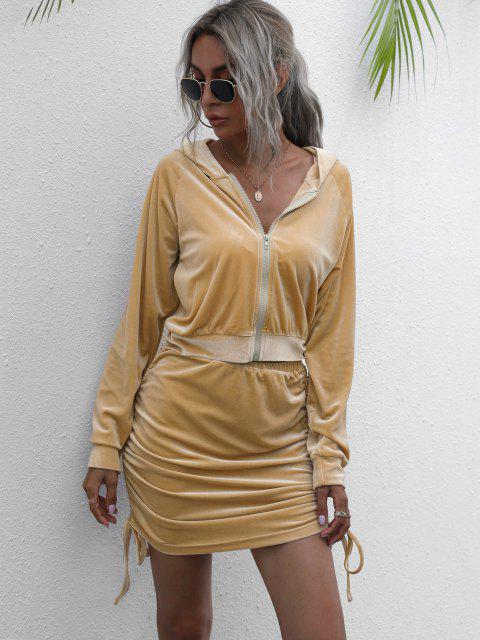 Hooded Velvet Side Cinched Ruched Two Piece Dress - القهوة الخفيفة S Mobile