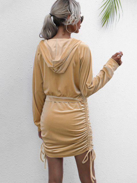 hot Hooded Velvet Side Cinched Ruched Two Piece Dress - LIGHT COFFEE S Mobile