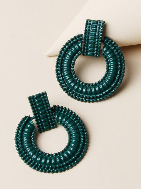 womens Ethnic Carved Circular Earrings - MEDIUM SEA GREEN  Mobile