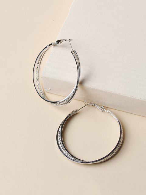 women Engraved Layers Hoop Earrings - SILVER  Mobile