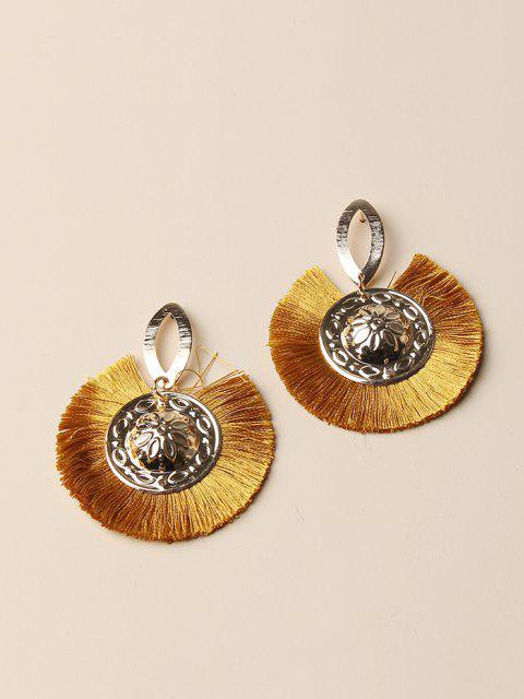 women's Bohemian Carved Round Fringe Earrings - GOLDEN  Mobile