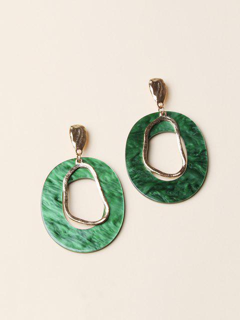 ladies Hollow Oval Stud Drop Earrings - GOLDEN  Mobile