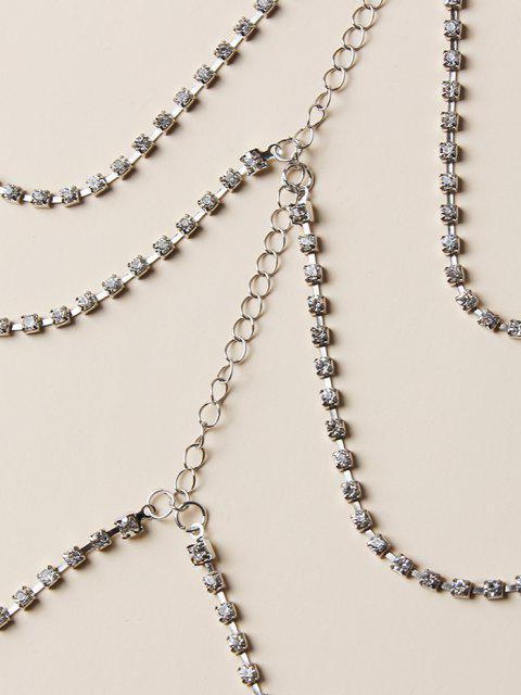shop Rhinestone 3 Layers Thigh Chain - SILVER  Mobile
