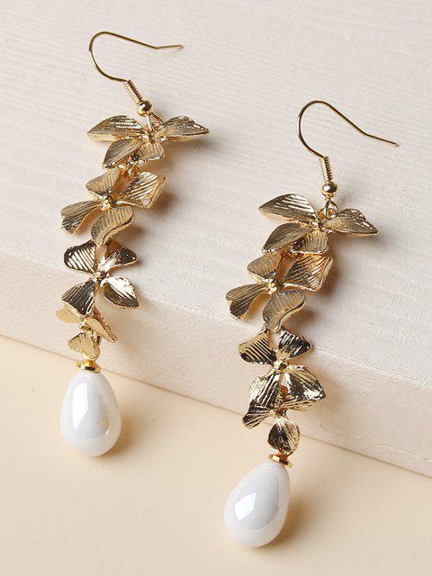 best Carved Flower Shape Dangle Earrings - GOLDEN  Mobile