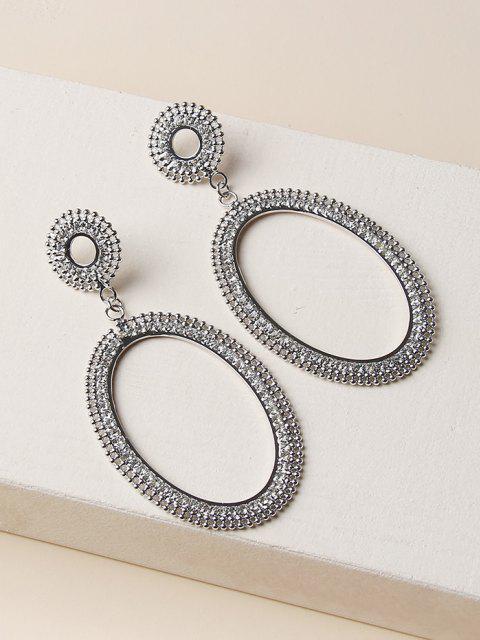 new Hollow Oval Rhinestone Drop Earrings - SILVER  Mobile