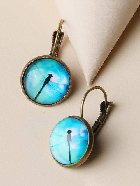 hot Dragonfly Pattern Round Retro Earrings - GOLDEN  Mobile
