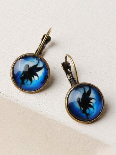 outfit Retro Fairy Print Round Earrings - GOLDEN  Mobile
