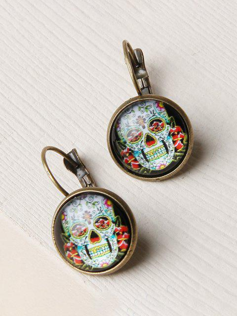 outfits Retro Skull Flower Pattern Earrings - GOLDEN  Mobile