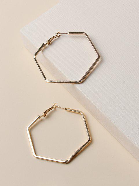 womens Minimalist Hollow Hexagon Hoop Earrings - GOLDEN  Mobile