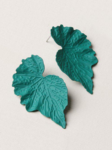 fancy Textured Leaf Shape Stud Earrings - MEDIUM AQUAMARINE  Mobile