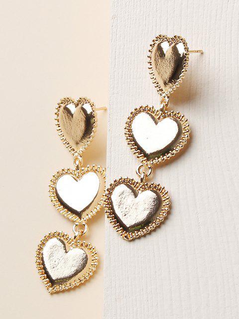 women Carved Heart Shape Drop Earrings - GOLDEN  Mobile