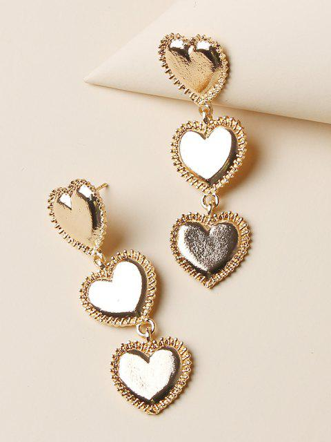 women Carved Heart Shape Drop Earrings - GOLDEN  Mobile