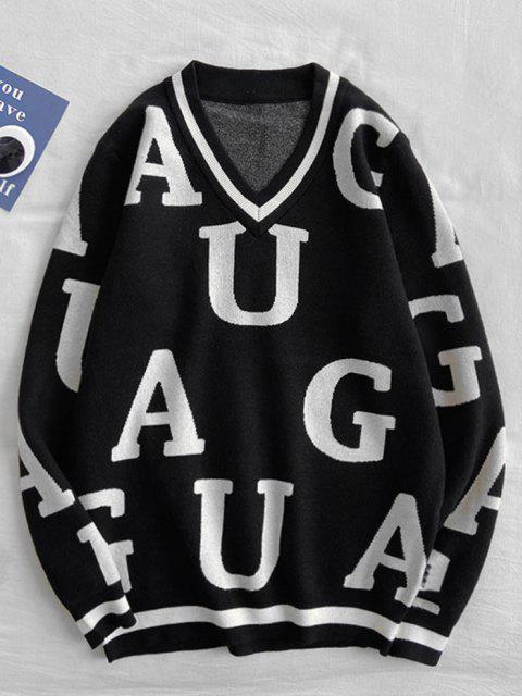 Buchstabenmuster V Ausschnitt Pullover - Schwarz S Mobile