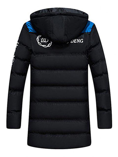 chic Hooded Letter Print Graphic Embroidered Puffer Coat - BLACK XS Mobile