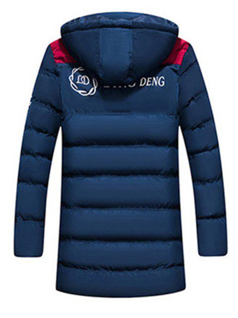 women's Hooded Letter Print Graphic Embroidered Puffer Coat - CADETBLUE L Mobile