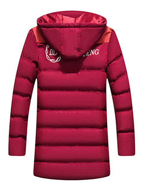 women's Hooded Letter Print Graphic Embroidered Puffer Coat - RED WINE S Mobile