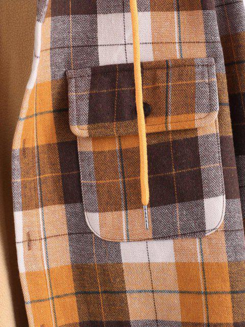 Veste à Capuche à Carreaux Imprimé avec Double Poches en Laine - Café profond 2XL Mobile