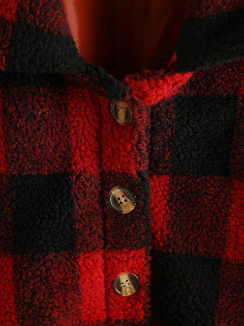 Chaqueta Teddy de Botón a Cuadros - Rojo XL Mobile