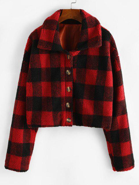 new Plaid Button Up Borg Teddy Jacket - RED M Mobile