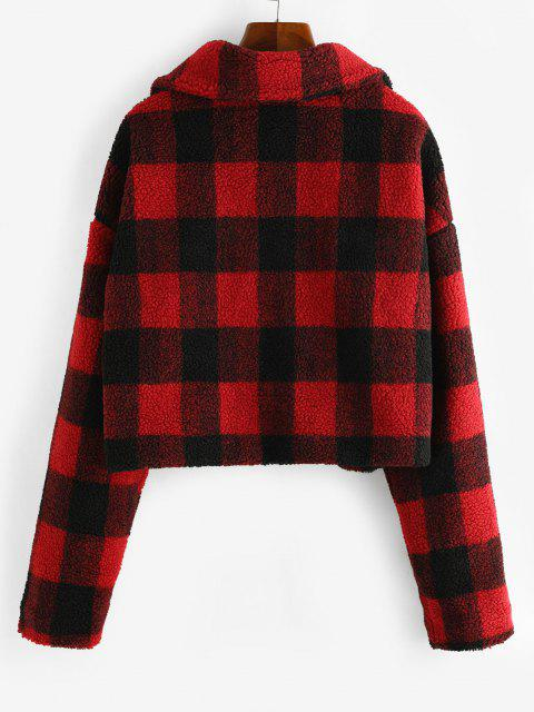chic Plaid Button Up Borg Teddy Jacket - RED L Mobile