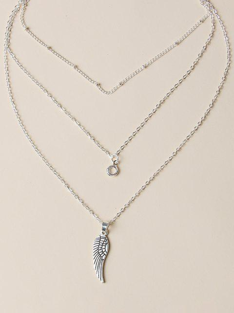 affordable Wing Shape Pendant Layered Necklace - SILVER  Mobile