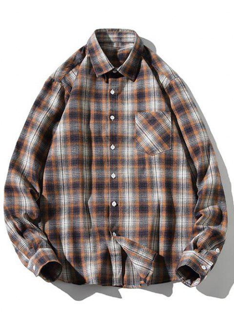 trendy Striped Plaid Pattern Long Sleeves Casual Shirt - LIGHT COFFEE XS Mobile