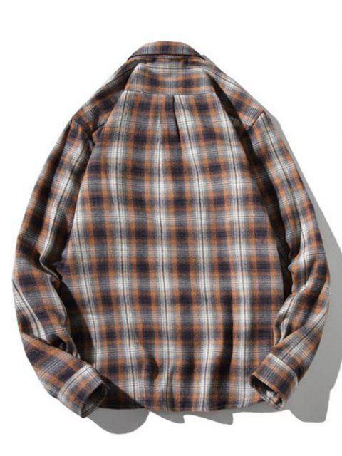 sale Striped Plaid Pattern Long Sleeves Casual Shirt - LIGHT COFFEE L Mobile