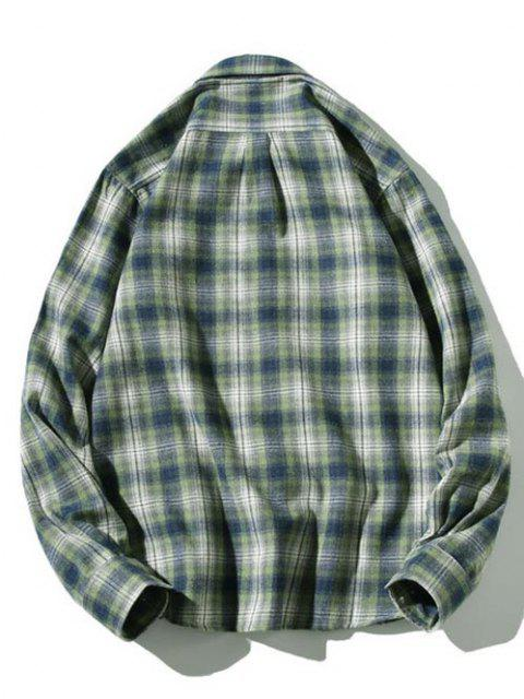buy Striped Plaid Pattern Long Sleeves Casual Shirt - GREEN XS Mobile