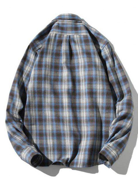 womens Striped Plaid Pattern Long Sleeves Casual Shirt - LIGHT BLUE S Mobile