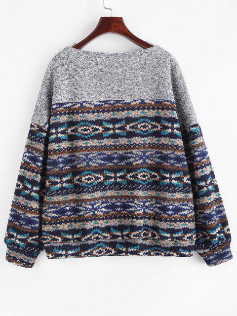 affordable ZAFUL Loose Tribal Print Fleece Lined Sweatshirt - DEEP BLUE S Mobile