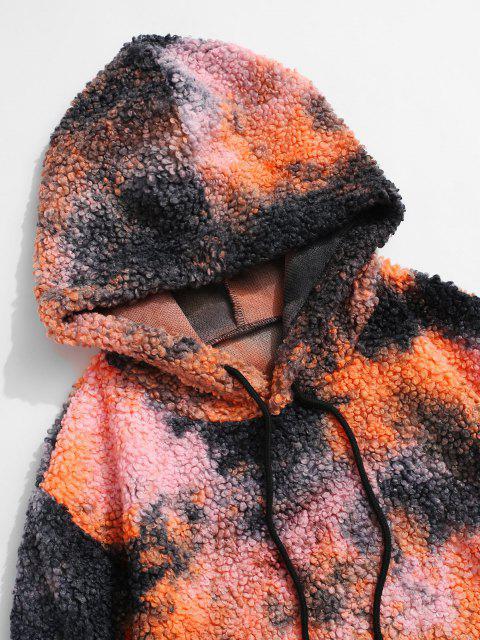 fashion Tie Dye Pattern Kangaroo Pocket Teddy Hoodie - MULTI XL Mobile