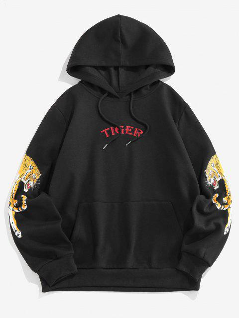 chic ZAFUL Letter Tiger Print Fleece Hoodie - BLACK XL Mobile