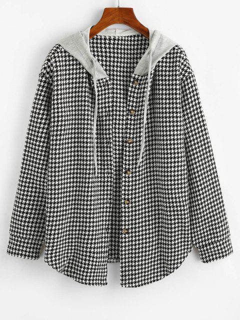 ZAFUL Houndstooth Button Up Combo Jacket - أسود M Mobile