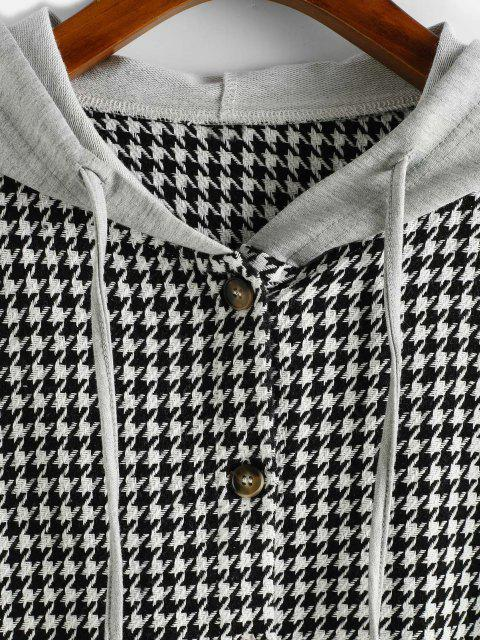 womens ZAFUL Houndstooth Button Up Combo Jacket - BLACK M Mobile