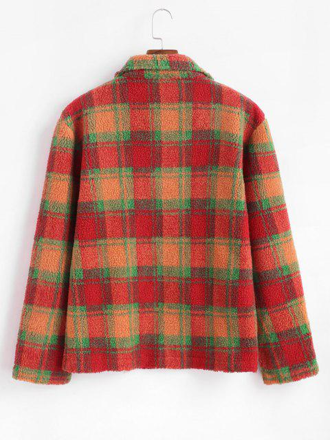 fancy Plaid Pattern Double Pockets Wool Blend Jacket - DARK ORANGE L Mobile