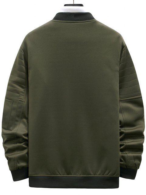 womens Zipper Pockets Stitching Detail Jacket - ARMY GREEN XL Mobile