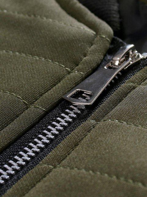 womens Zipper Pockets Stitching Detail Jacket - ARMY GREEN XL Mobile