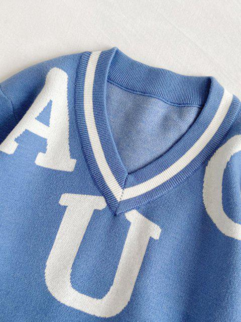 fancy Letter Pattern V-neck Sweater - SILK BLUE XS Mobile