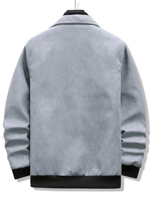 Double Pockets Rib-knit Trim Jacket - رمادي فاتح XL Mobile