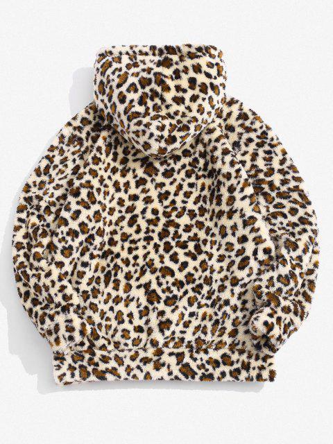 Sudadera con Capucha con Estampado de Leopardo ZAFUL - Blanco Almendra S Mobile