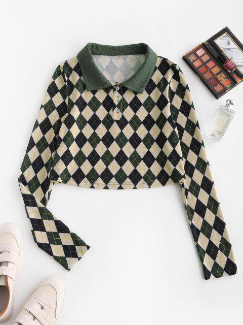 ladies ZAFUL Cropped Button Front Argyle Tee - DEEP GREEN M Mobile