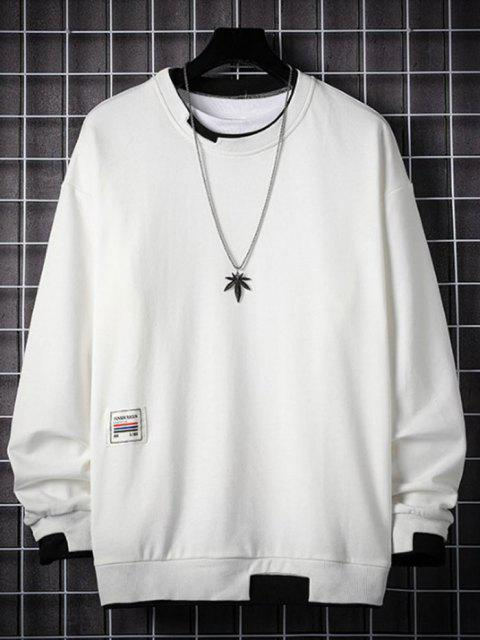 sale Letter Applique Contrast Faux Twinset Sweatshirt - WHITE 3XL Mobile