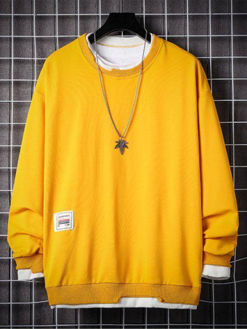 Sweat-shirt Lettre Applique Contrasté Fausse Deux Pièces - Jaune 4XL Mobile