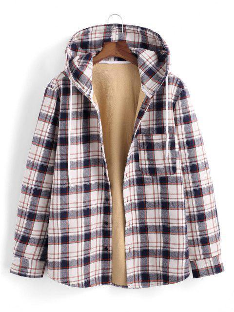 Veste à Capuche à Carreaux Imprimée avec Poche en Laine - Bleu profond XL Mobile