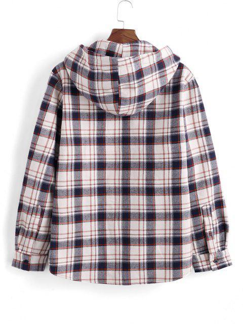 lady Hooded Plaid Print Fleece Pocket Jacket - DEEP BLUE L Mobile
