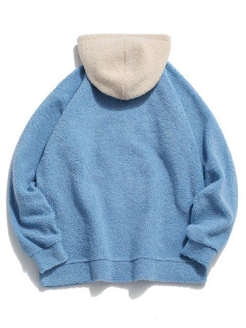 shop Keep Energy Graphic Colorblock Teddy Hoodie - LIGHT BLUE S Mobile