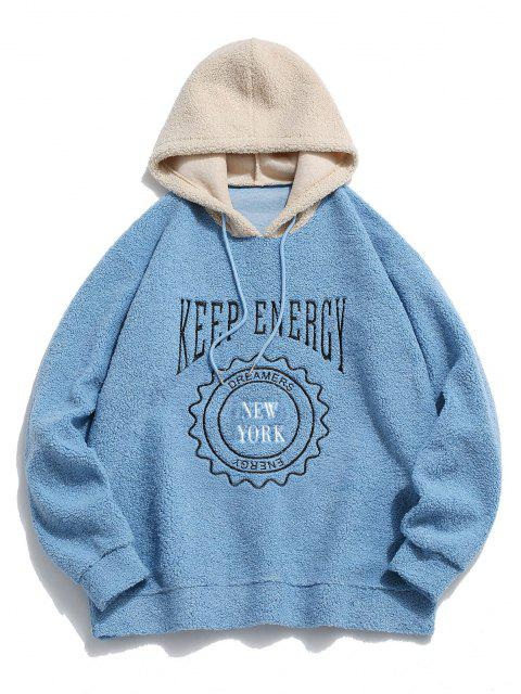 online Keep Energy Graphic Colorblock Teddy Hoodie - LIGHT BLUE L Mobile