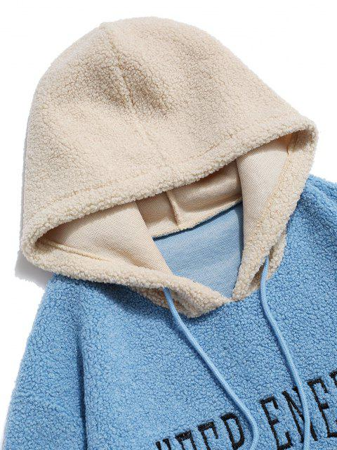 latest Keep Energy Graphic Colorblock Teddy Hoodie - LIGHT BLUE M Mobile