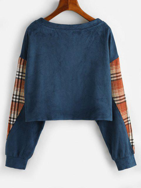 sale ZAFUL Drop Shoulder Plaid Panel Faux Suede Sweatshirt - BLUE L Mobile