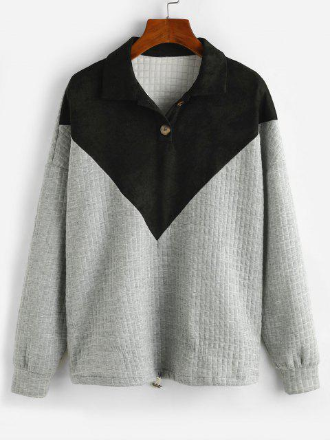 ZAFUL Button Front Faux Suede Panel Two Tone Sweatshirt - رمادي فاتح S Mobile